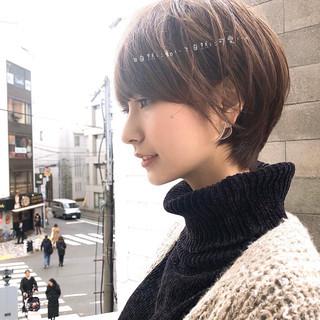 インナーカラー ベリーショート ショートヘア ナチュラル ヘアスタイルや髪型の写真・画像