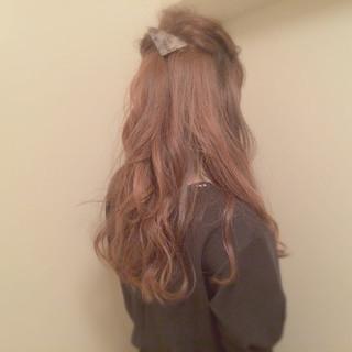 ゆるふわ くるりんぱ セルフヘアアレンジ ハーフアップ ヘアスタイルや髪型の写真・画像