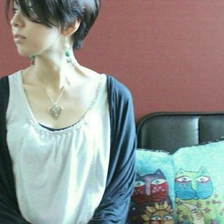 前髪あり 大人女子 抜け感 ベリーショート ヘアスタイルや髪型の写真・画像