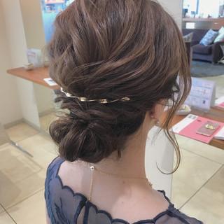 簡単ヘアアレンジ 結婚式 セミロング ショート ヘアスタイルや髪型の写真・画像