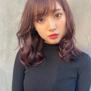 ブリーチなし デジタルパーマ ピンクベージュ ナチュラル ヘアスタイルや髪型の写真・画像