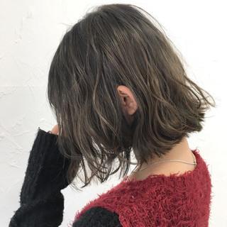 ミルクティー ナチュラル ボブ 前髪あり ヘアスタイルや髪型の写真・画像