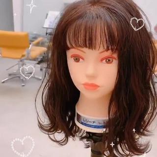 セミロング パーマ ヘアアレンジ ガーリー ヘアスタイルや髪型の写真・画像