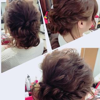 結婚式 ヘアアレンジ セミロング デート ヘアスタイルや髪型の写真・画像