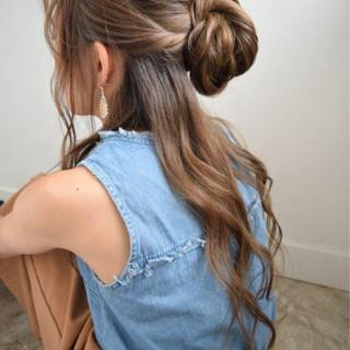 フェミニン ヘアアレンジ ゆるふわ ハーフアップ ヘアスタイルや髪型の写真・画像