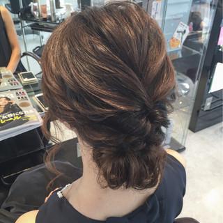 ゆるふわ ヘアアレンジ セミロング 結婚式 ヘアスタイルや髪型の写真・画像