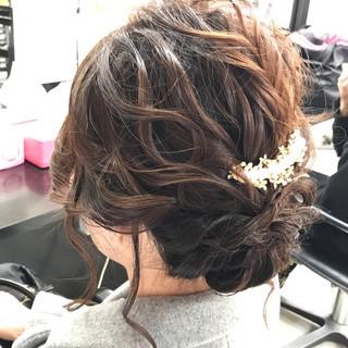 ナチュラル 結婚式 ヘアアレンジ セミロング ヘアスタイルや髪型の写真・画像