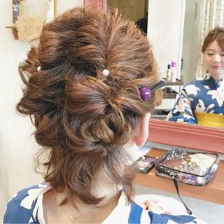 大人かわいい お祭り 和装 ヘアアレンジ ヘアスタイルや髪型の写真・画像