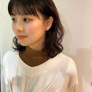 デジタルパーマ ミディアム 毛先パーマ ゆるふわパーマ ヘアスタイルや髪型の写真・画像