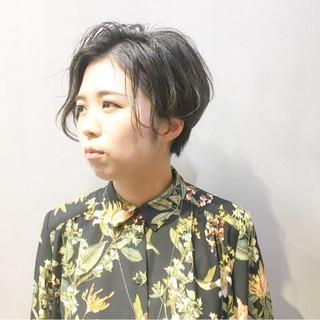 黒髪 ハンサムバング ハンサムショート ショート ヘアスタイルや髪型の写真・画像