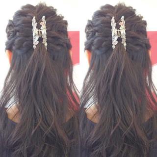 ヘアアレンジ 結婚式 ハーフアップ 二次会 ヘアスタイルや髪型の写真・画像