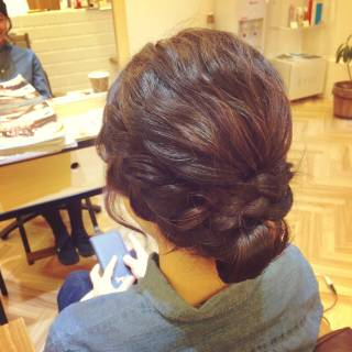 ナチュラル ゆるふわ まとめ髪 編み込み ヘアスタイルや髪型の写真・画像