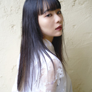 前髪 モード ロング ストレート ヘアスタイルや髪型の写真・画像