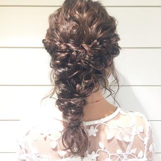 二次会 ディズニー セミロング 結婚式 ヘアスタイルや髪型の写真・画像