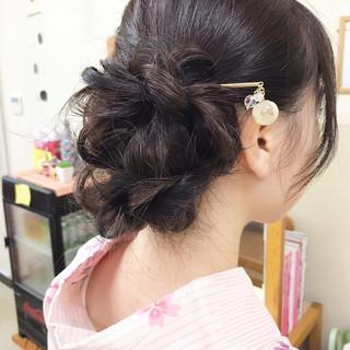 和装 簡単ヘアアレンジ セミロング ナチュラル ヘアスタイルや髪型の写真・画像
