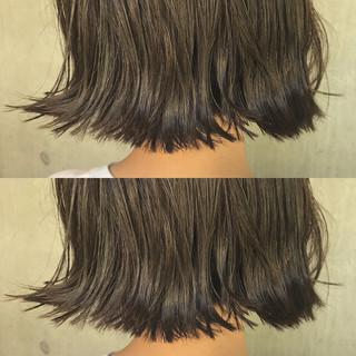 パーマ アッシュ 黒髪 ボブ ヘアスタイルや髪型の写真・画像