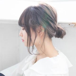 デート 結婚式 ミディアム 簡単ヘアアレンジ ヘアスタイルや髪型の写真・画像