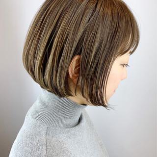 大人かわいい 前髪 ナチュラル ミニボブ ヘアスタイルや髪型の写真・画像