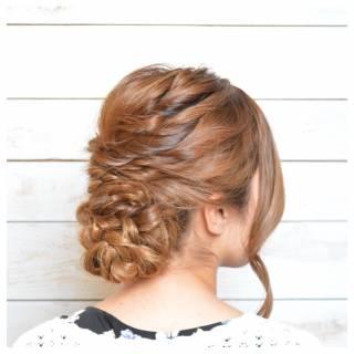 編み込み 大人かわいい パーティ ねじり ヘアスタイルや髪型の写真・画像