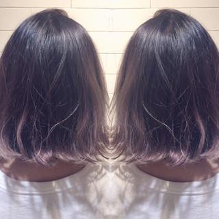 ラベンダーアッシュ ナチュラル ラベンダーピンク ボブ ヘアスタイルや髪型の写真・画像