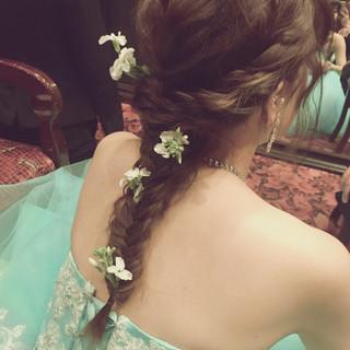 編み込み 花嫁 ヘアアレンジ ロング ヘアスタイルや髪型の写真・画像