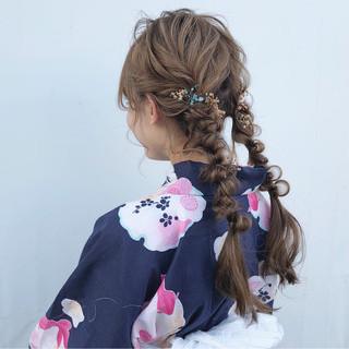 ツインテール デート ヘアアレンジ 成人式 ヘアスタイルや髪型の写真・画像