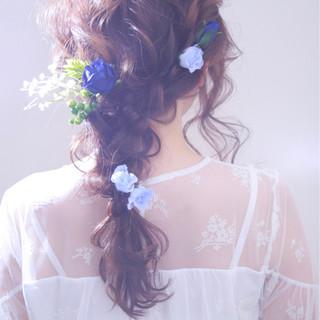 ロング ヘアアレンジ 結婚式 フェミニン ヘアスタイルや髪型の写真・画像