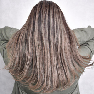 外国人風カラー ハイライト ストリート バレイヤージュ ヘアスタイルや髪型の写真・画像