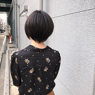 デート ナチュラル ショート 黒髪 ヘアスタイルや髪型の写真・画像