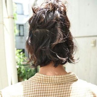 ショート ボブ ヘアアレンジ ナチュラル ヘアスタイルや髪型の写真・画像