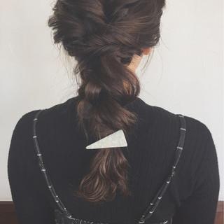 結婚式 簡単ヘアアレンジ デート 編み込み ヘアスタイルや髪型の写真・画像