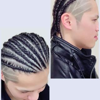 メンズ 坊主 ストリート コーンロウ ヘアスタイルや髪型の写真・画像