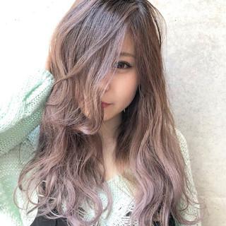 ピンク ロング ラベンダーアッシュ アッシュ ヘアスタイルや髪型の写真・画像