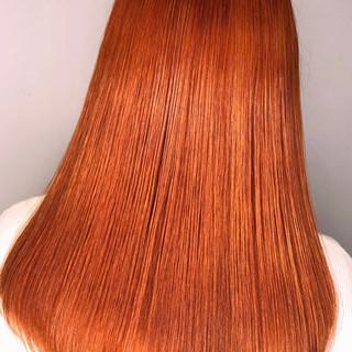 オルチャン オレンジ ロング アプリコットオレンジ ヘアスタイルや髪型の写真・画像