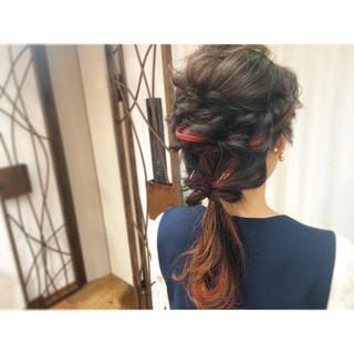 ロング ショート 編み込み 簡単ヘアアレンジ ヘアスタイルや髪型の写真・画像