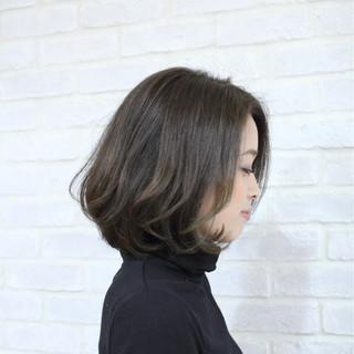 ワンカール ボブ 大人かわいい ナチュラル ヘアスタイルや髪型の写真・画像
