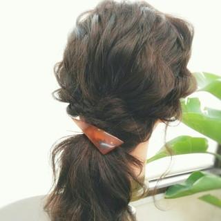 ショート 夏 セミロング ゆるふわ ヘアスタイルや髪型の写真・画像
