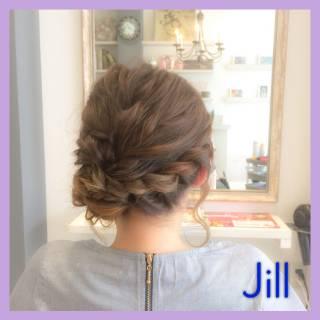 編み込み 簡単ヘアアレンジ ねじり コンサバ ヘアスタイルや髪型の写真・画像