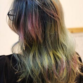モード ハイトーン ガーリー セミロング ヘアスタイルや髪型の写真・画像