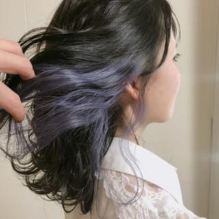 フェミニン パープル セミロング インナーカラー ヘアスタイルや髪型の写真・画像