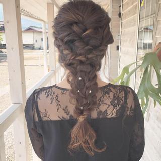ロング 結婚式 編みおろし ヘアアレンジ ヘアスタイルや髪型の写真・画像