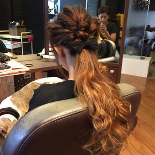 ハーフアップ ヘアアレンジ 外国人風 ロング ヘアスタイルや髪型の写真・画像