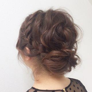 ヘアアレンジ パーティ フェミニン 編み込み ヘアスタイルや髪型の写真・画像