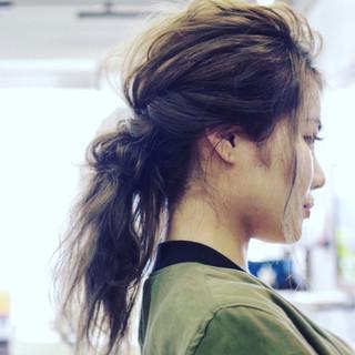 ショート 簡単ヘアアレンジ ルーズ ナチュラル ヘアスタイルや髪型の写真・画像
