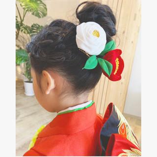 和装髪型 ヘアアレンジ セミロング ナチュラル ヘアスタイルや髪型の写真・画像