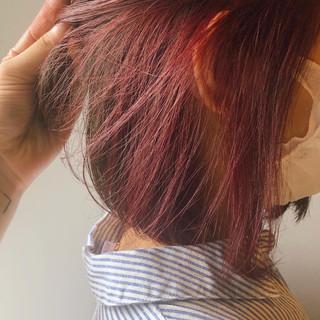 ヘアアレンジ ボブ ボルドー 抜け感 ヘアスタイルや髪型の写真・画像