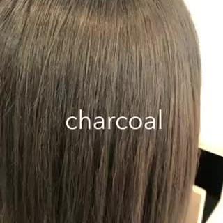 インナーカラー 切りっぱなしボブ ナチュラル セミロング ヘアスタイルや髪型の写真・画像