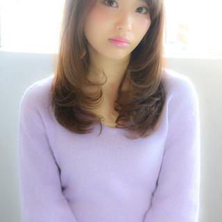 縮毛矯正 ストレート パーマ セミロング ヘアスタイルや髪型の写真・画像