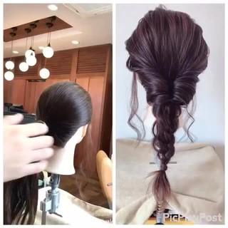 ヘアアレンジ セミロング 女子会 ナチュラル ヘアスタイルや髪型の写真・画像