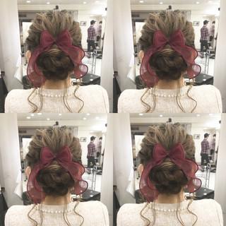 アップスタイル ミディアム 結婚式ヘアアレンジ 結婚式 ヘアスタイルや髪型の写真・画像